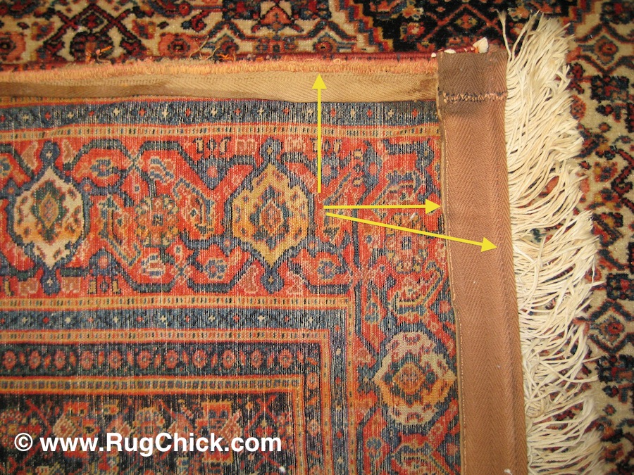 Senneh rug that has been attacked by a sewing machine to add side-cords and fake fringe.