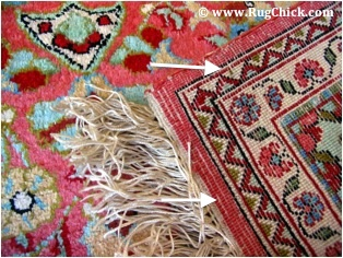 White horizontal wefts on a rug