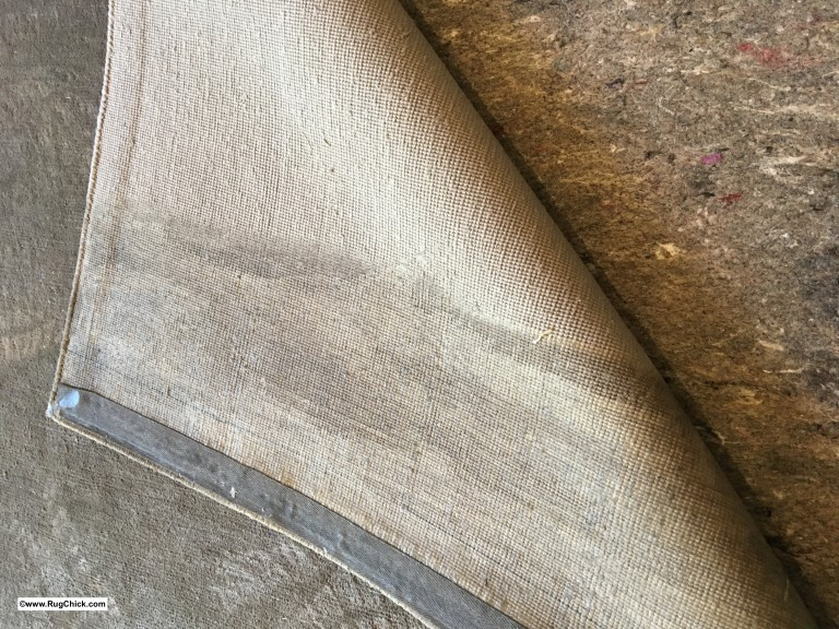 Bamboo silk rug, entire end full of mildew growth.