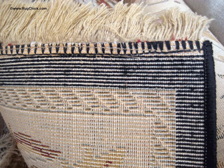 Back corner of a synthetic rug