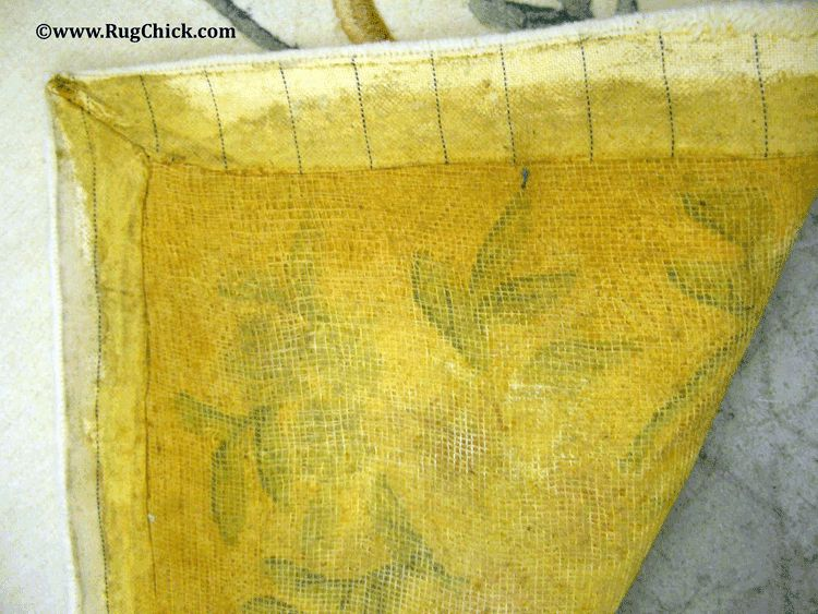 Latex backing of a tufted rug.