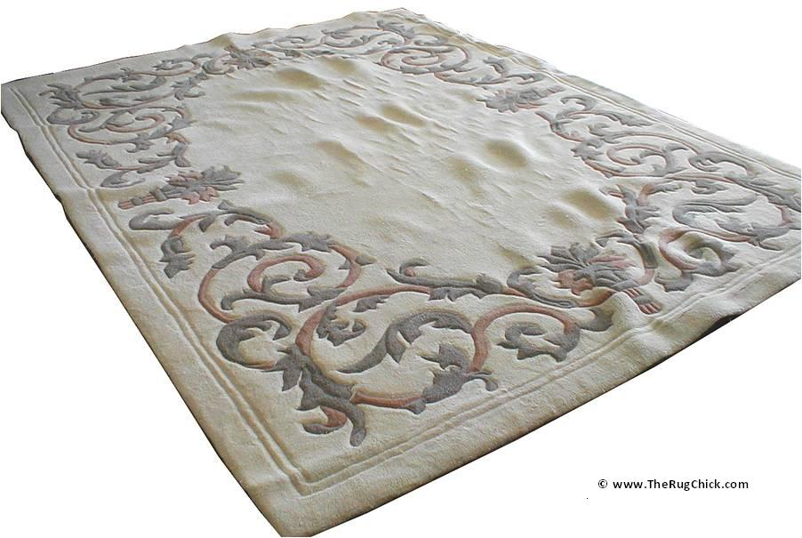 Tufted rug buckling from furniture.