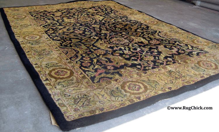 Tufted rug lost its shape after the latex deteriorated from a flood.