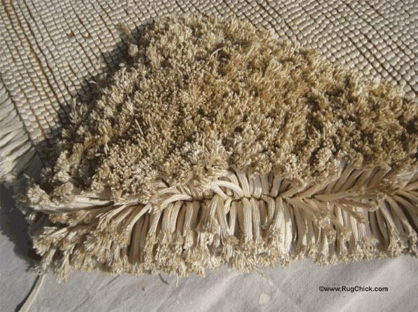 """Silk parachute cord WWII """"shag"""" rug."""