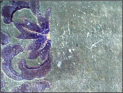 Artificial Silk rayon rug with shedding of fibers.