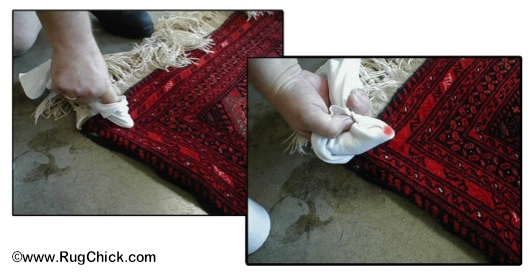 Testing the dye of an Afghan tribal wool rug.