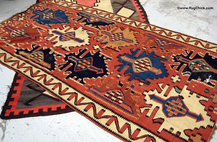 Beautiful old Kuba Kilim with a great Navajo under it.