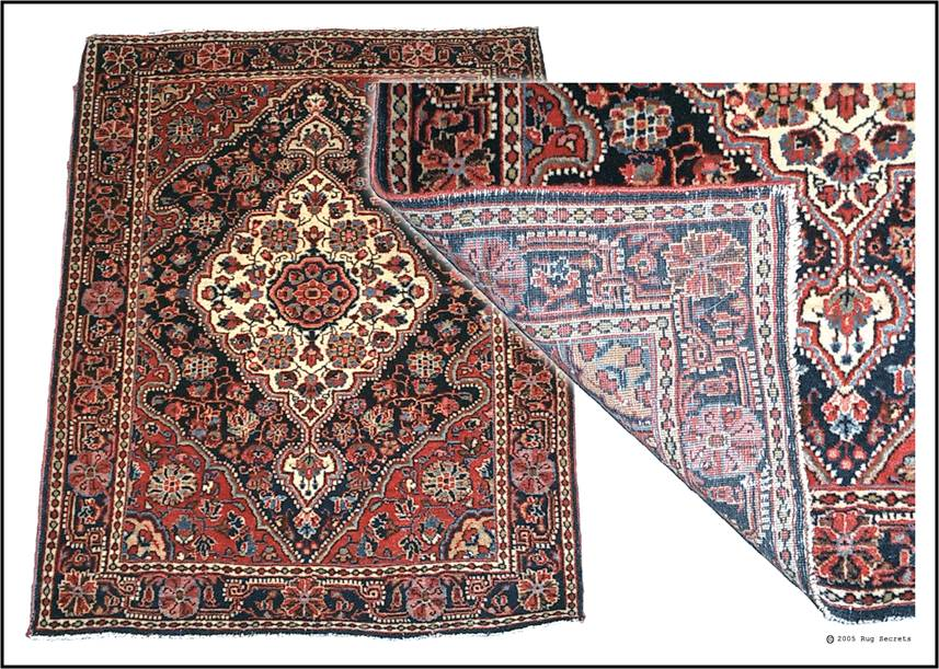 Flip the corner. If you see the design on the back – it is a woven rug.