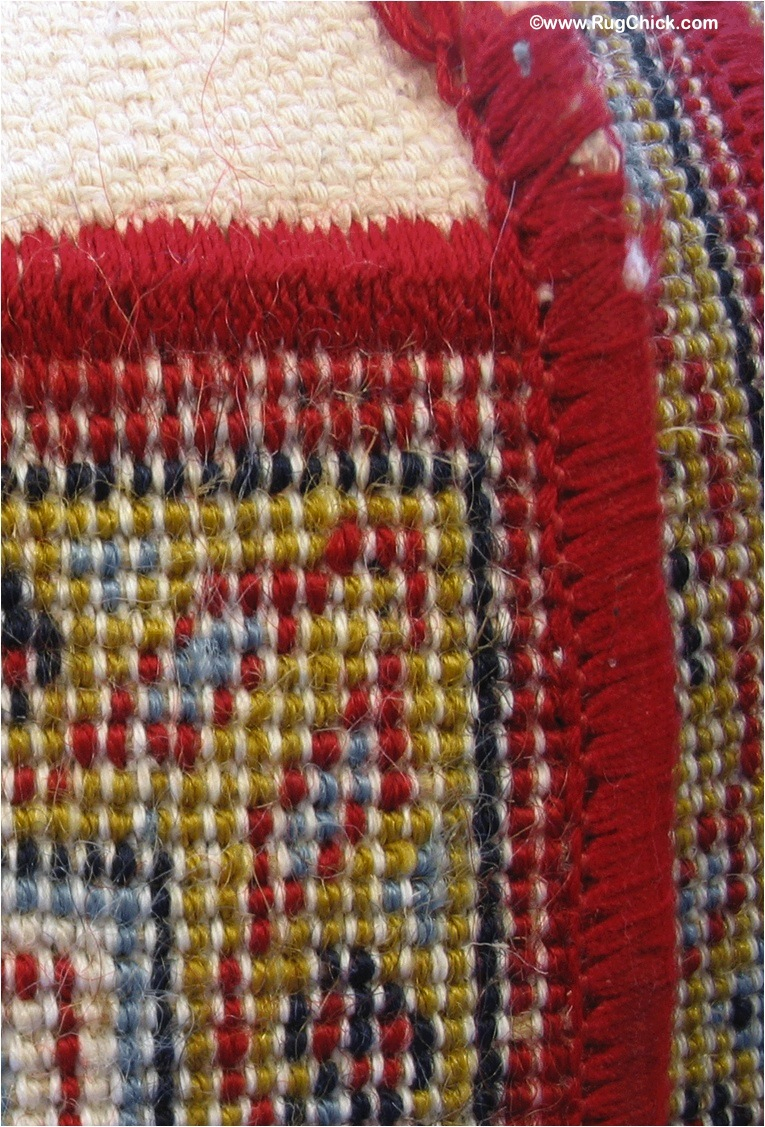 "Machine woven rugs have the wool wrapped around the wefts (wefts run ""weft"" to right). Fringe is sewed on by machine and sides sewn on too."